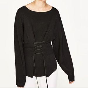 ZARA Knit corset sweater. Size S.